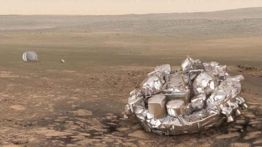 Ilustración del módulo Schiaparelli en Marte.
