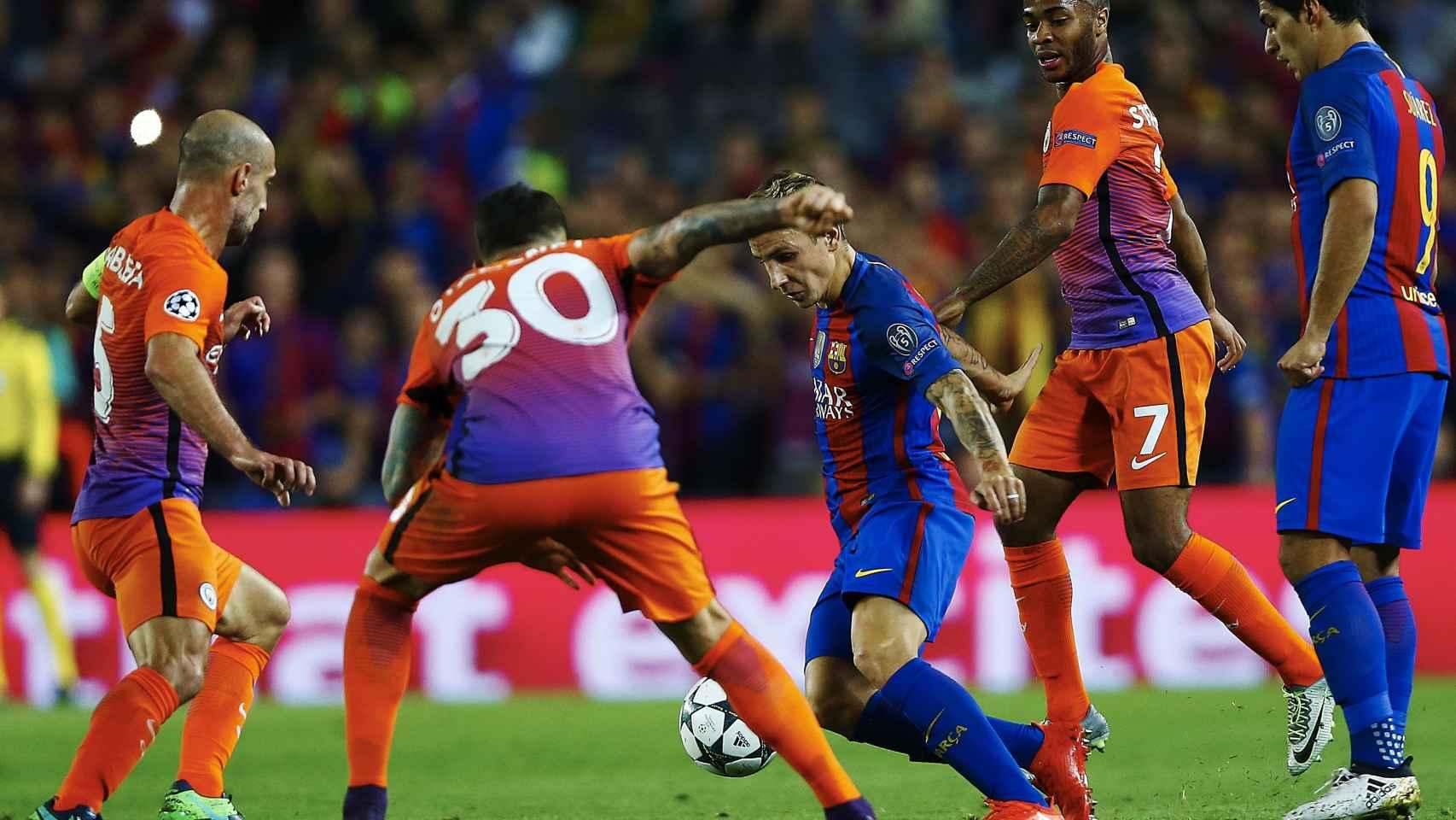 Pablo Zabaleta, en un partido ante el Barcelona