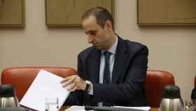 El presidente del FROB, Jaime Ponce, durante su comparecencia hoy ante la Comisión de Economía.