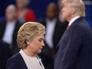 Clinton y Trum, durante el segundo debate