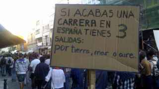 Pancarta durante una manifestación contra los recortes educativos