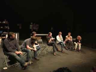 Pablo Iglesias, durante el coloquio de este miércoles en el Teatro del Barrio de Madrid.
