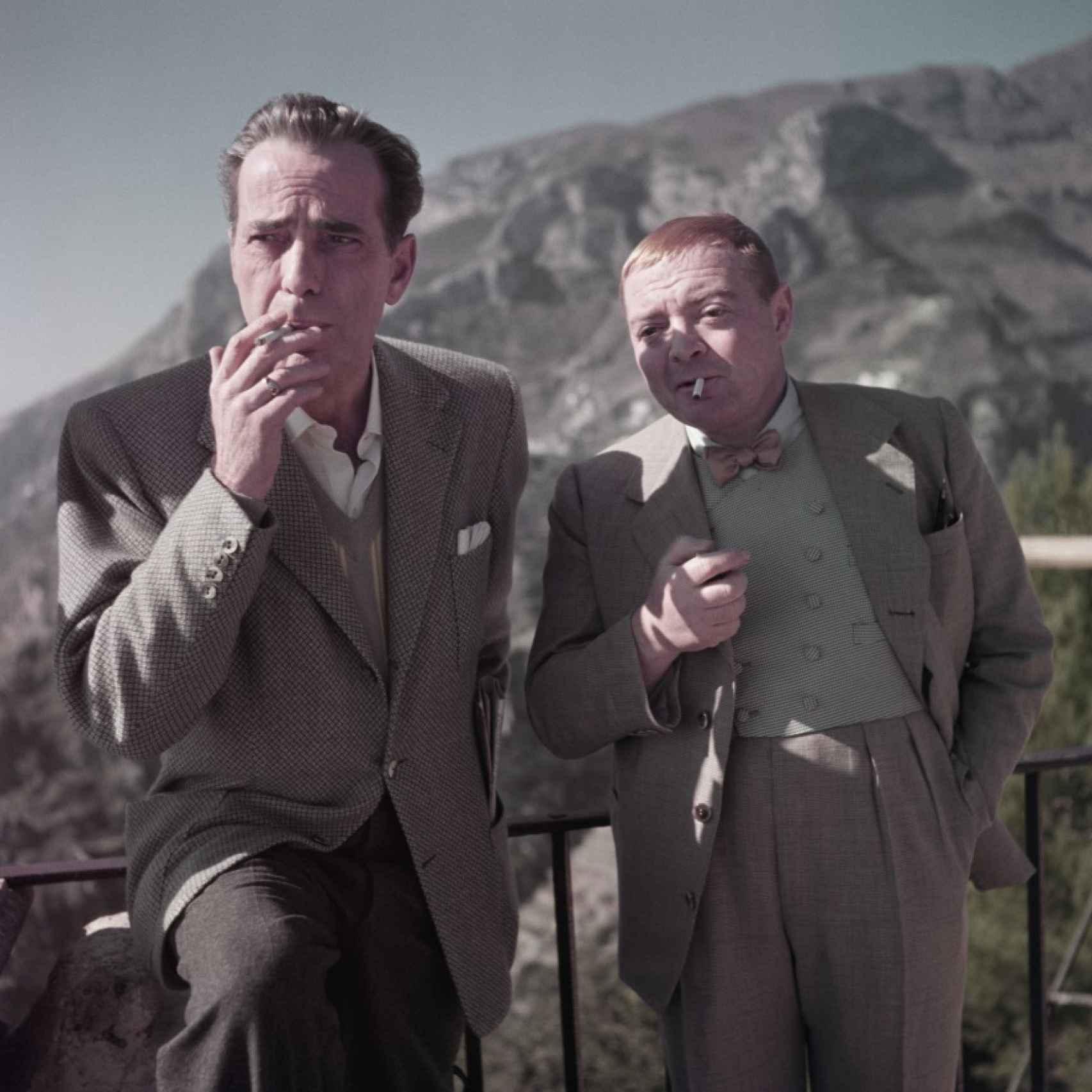 Humphrey Bogart y Peter Lorre durante el rodaje de Beat the Devil.
