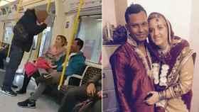 A la izquierda, el vídeo de la agresión; a la derecha, la foto de la boda de Kilian y Jubair.
