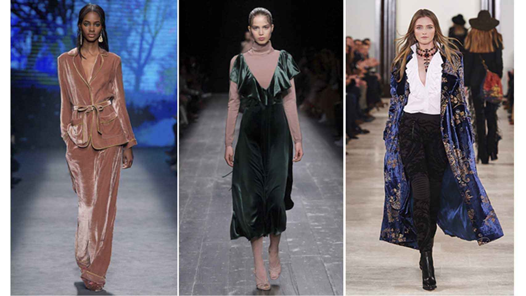 De izq. a dcha. looks de Alberta Ferreti, Valentino y Ralph Lauren.