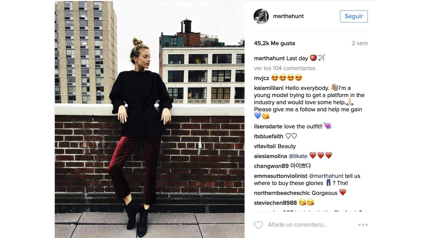 Instagram de la modelo Marta Hunt.