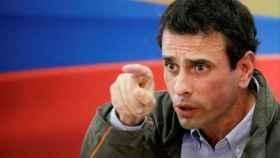 El opositor Henrique Capriles, durante una rueda de prensa en Caracas.