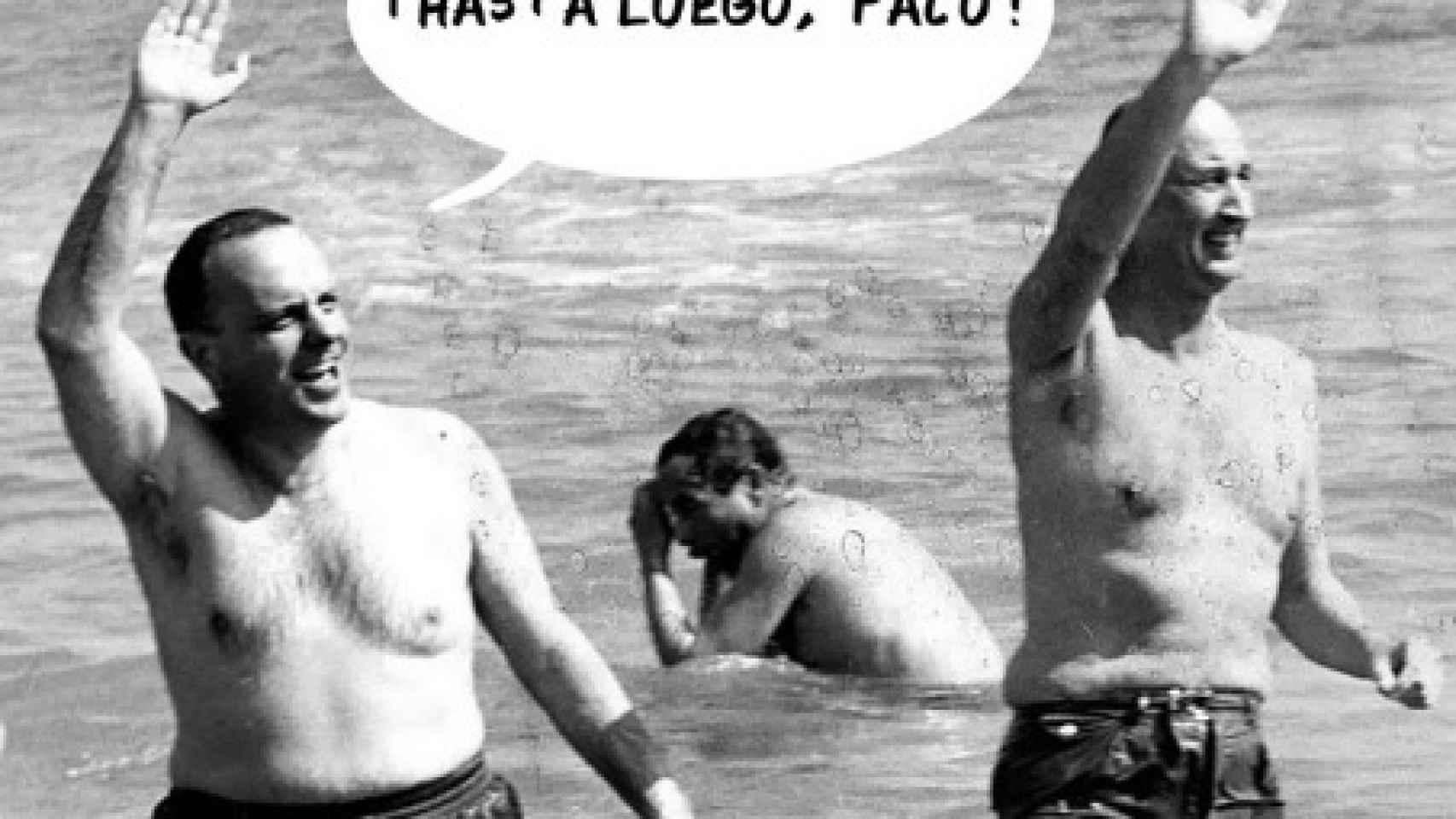 Un 'meme' con la mítica foto de Palomares en la que aparece Manuel Fraga.