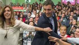 Susana Díaz y Pedro Sánchez en un mitin en Andalucía.