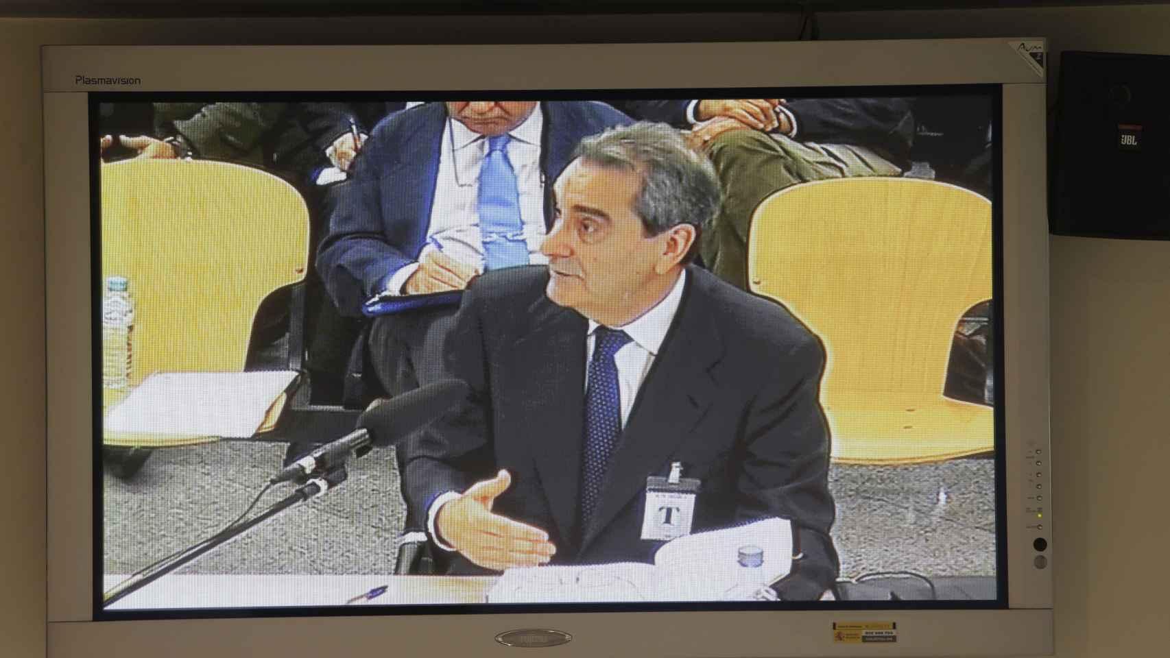 Jaime Terceiro, en una imagen del monitor de la sala de prensa de la Audiencia Nacional.