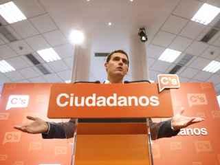 Albert Rivera durante la rueda de prensa ofrecida tras la reunión de la Ejecutiva Nacional