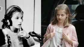 Letizia a los 11 años. A la dcha, su hija Leonor con la misma edad, antes de un partido de fútbol este año