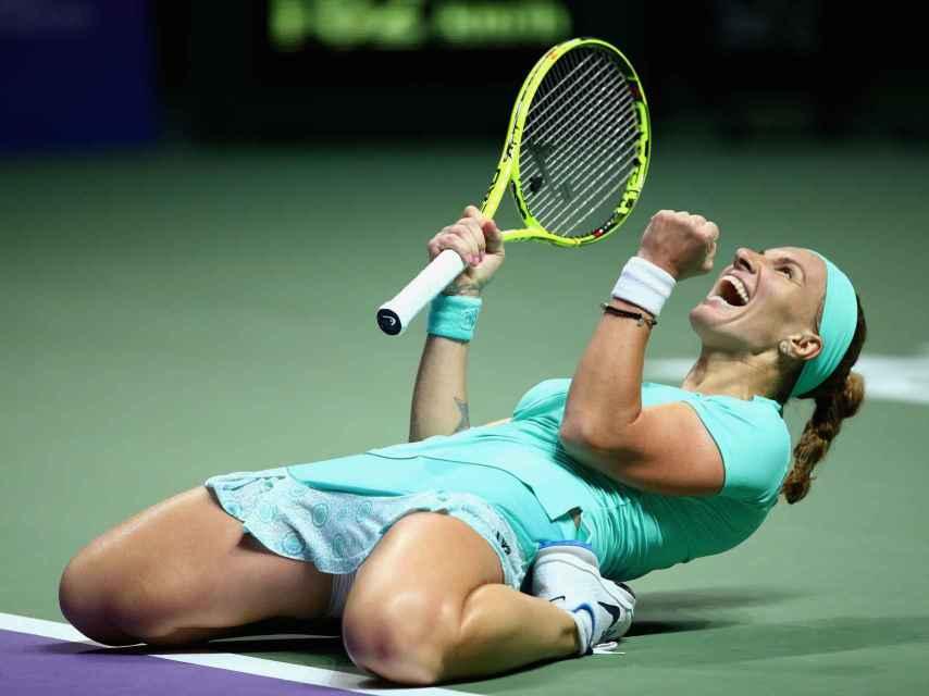Kuznetsova celebra su victoria contra Karolina Pliskova en Singapur.