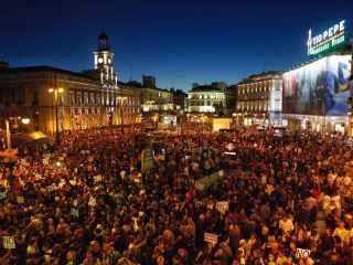 La Puerta del Sol de Madrid durante la manifestación Rodea el Congreso.