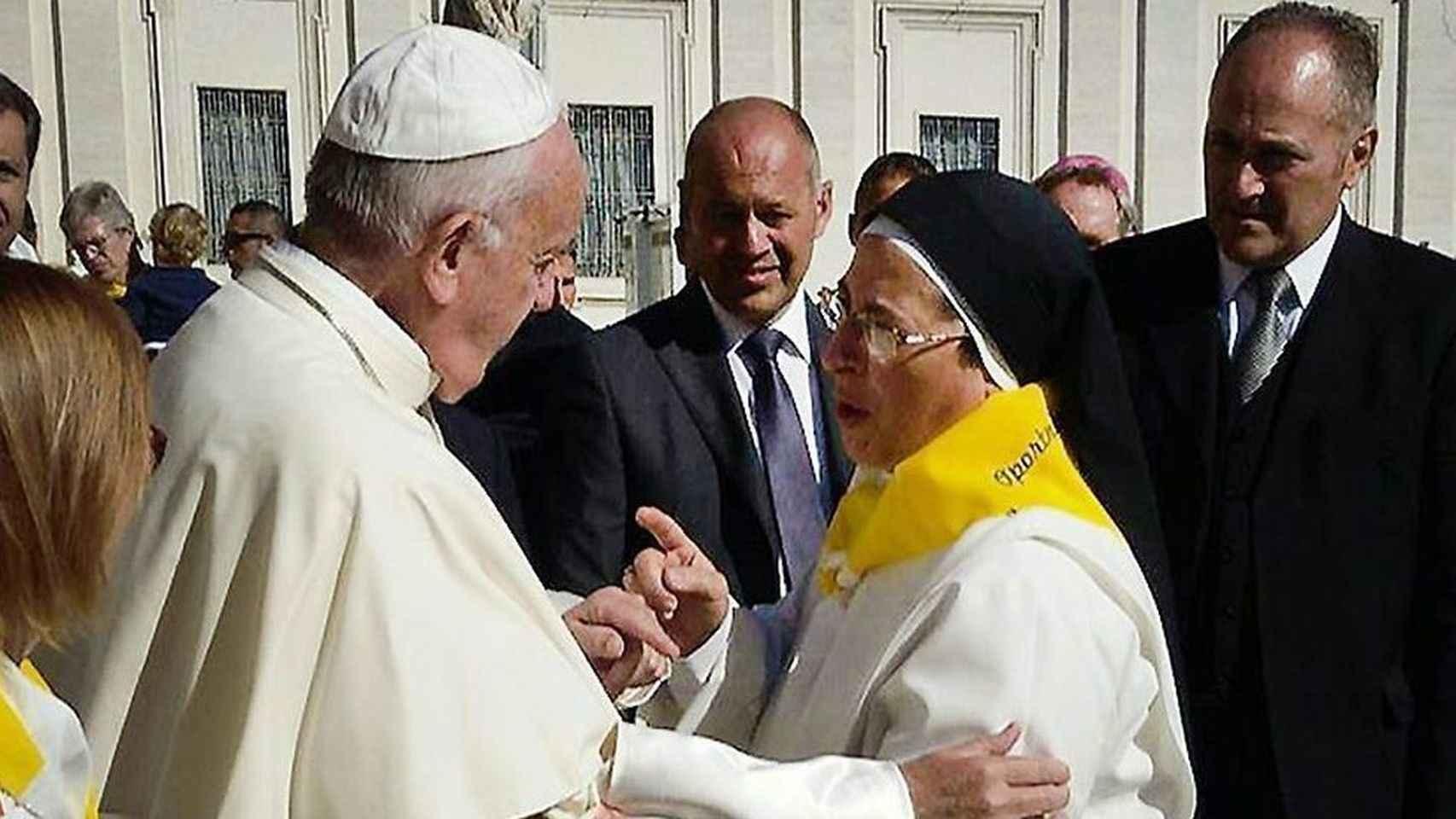 Sor Lucía Caram, en su encuentro con el Papa Francisco, hace sólo unas semanas.