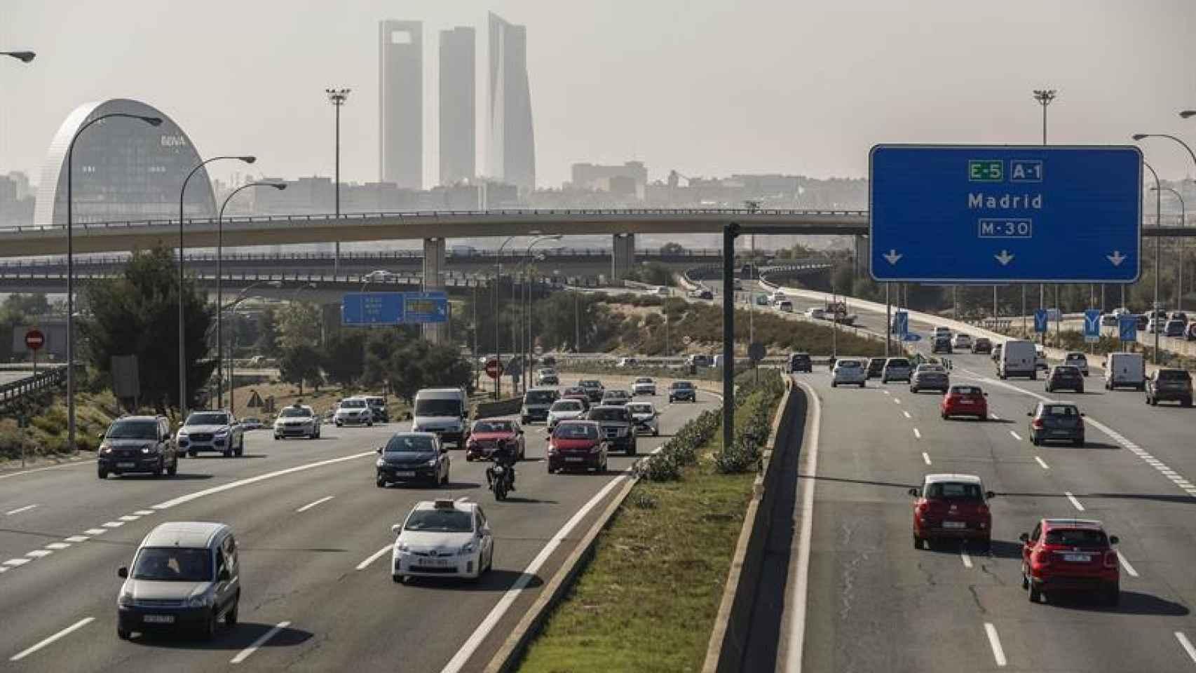 Madrid durante un escenario de alerta por alta contaminación.