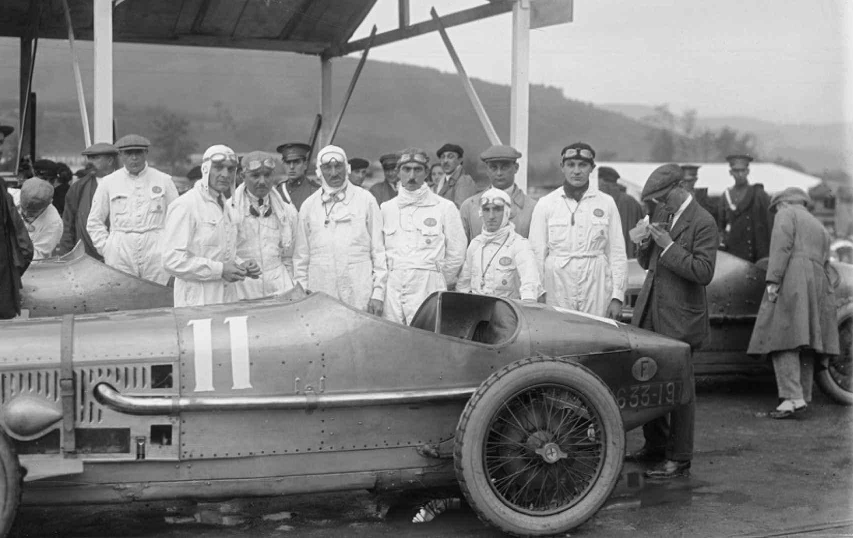 Los pilotos de los bólidos. Circuito de Lasarte, 1924.