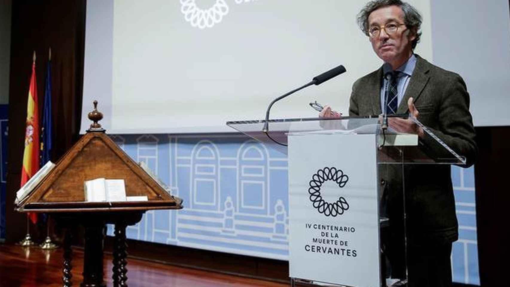 José María Lassalle durante el acto de presentación del Año Cervantes en la BNE.