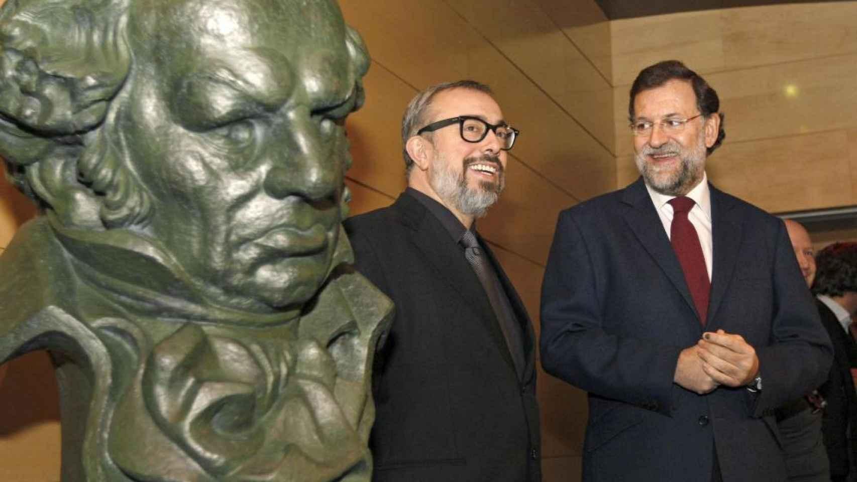 Última foto de Mariano Rajoy con el cine, en la ceremonia de los Goya, en 2010, como presidente del PP.