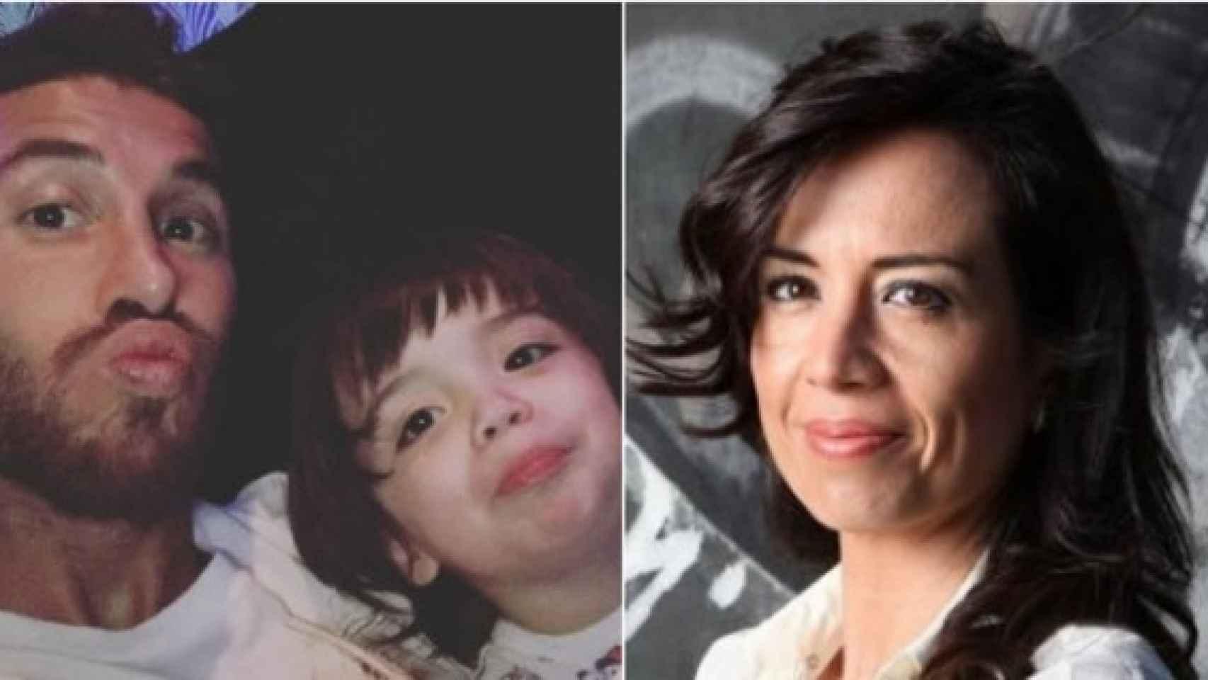 Una de las imágenes que compara el rostro de Karen Parra y el de Sergio Ramos Jr.