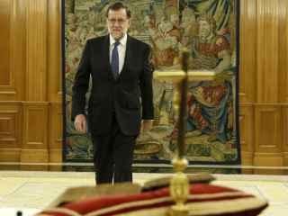 Mariano Rajoy poco antes de jurar el cargo ante el Rey.
