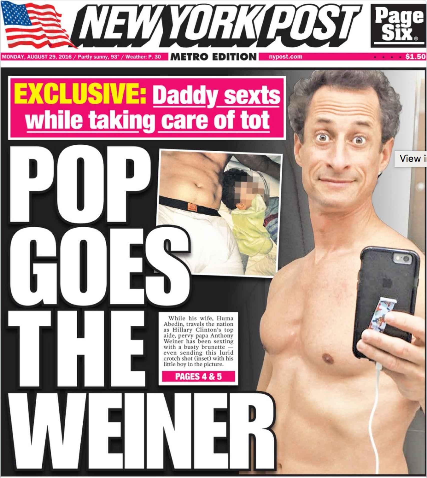 Copertina di New York Posta con immagini che presumibilmente Weiner hanno inviato una donna con cui si scambiava messaggi.