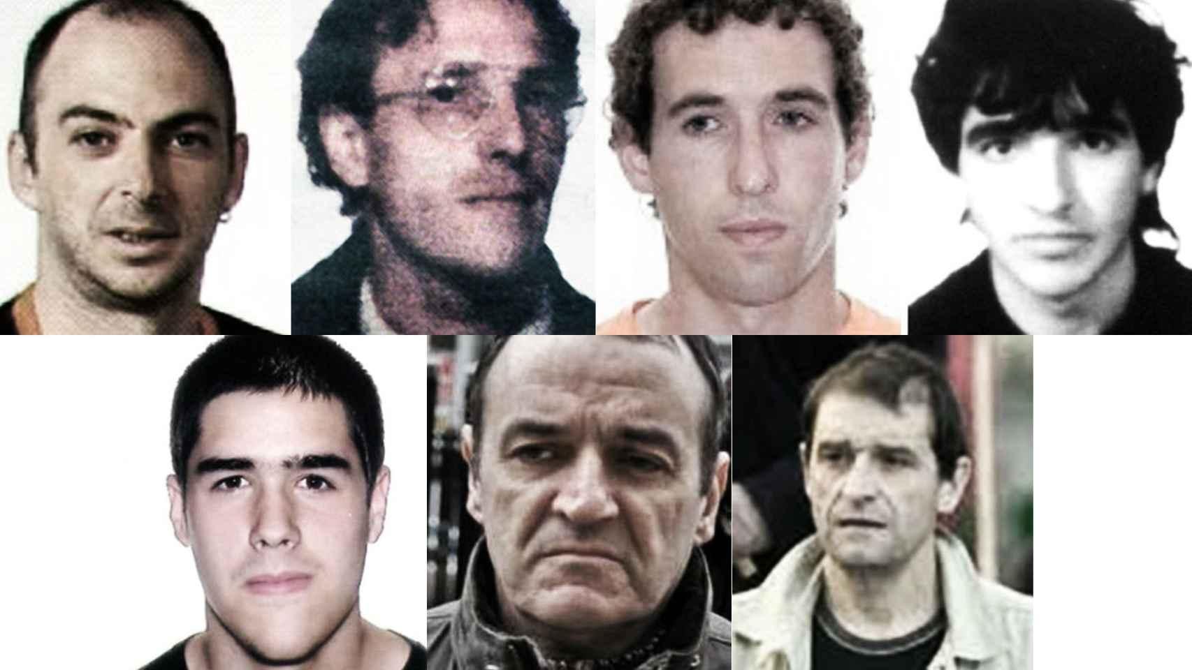 De izquierda a derecha, arriba: Anartz Arambarri, José Luis Eciolaza, Eneko Aguirresarobe y Oier Eguidazu. Abajo:  Mikel Barrios, De Juana Chaos y Josu Ternera.