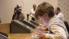 Uno de los participantes de seis años en la competición de cálculo mental