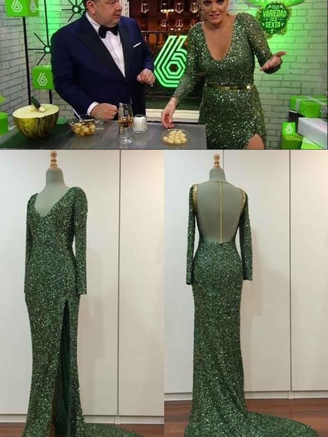 Andrea Ropero, con un espectacular vestido verde, junto a Chicote