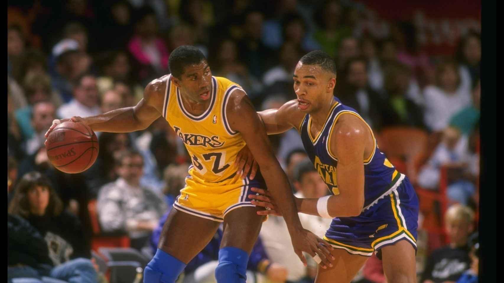 Magic Johnson, durante un partido con los Angeles Lakers.