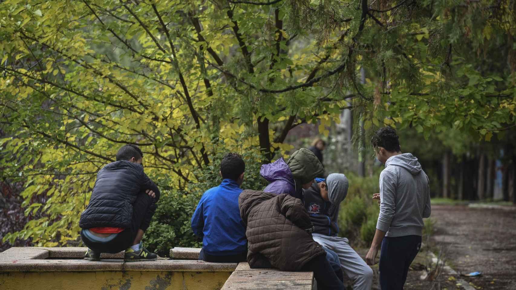 Algunos de los menores que viven en el parque.