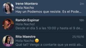 Algunos de los mensajes enviados por Rita Maestre, Irene Montero o Ramón Espinar.