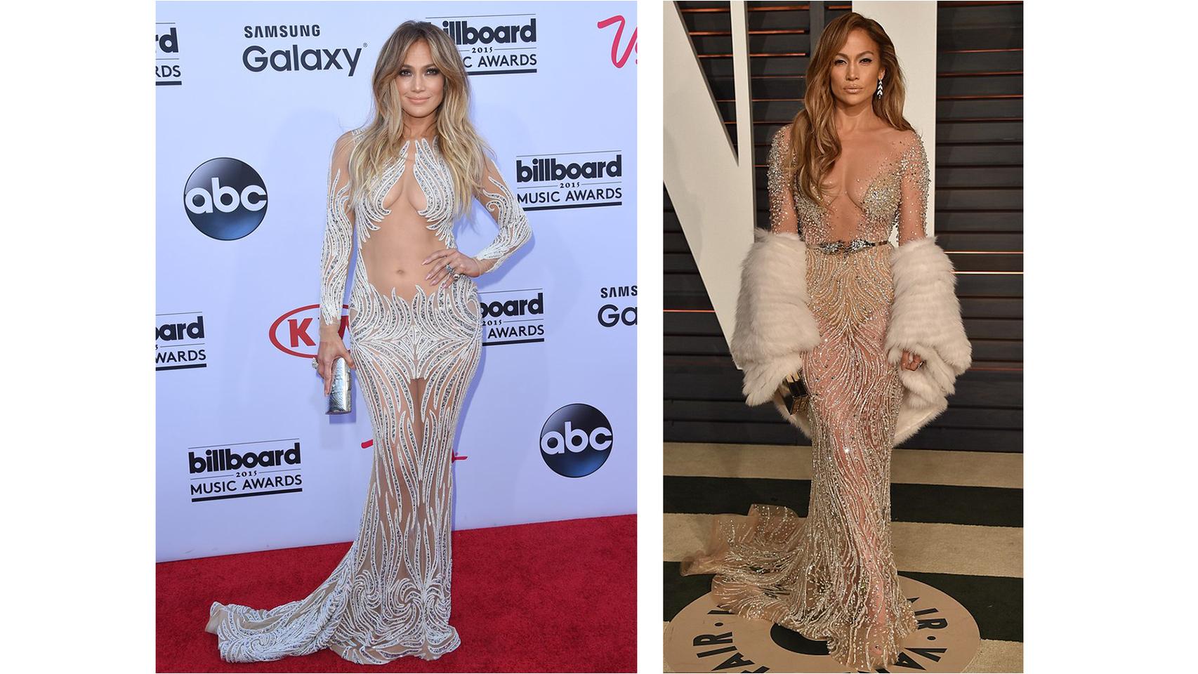 Jennifer Lopez es una apasionada de este tipo de vestidos que aúnan pedrería y transparencias.