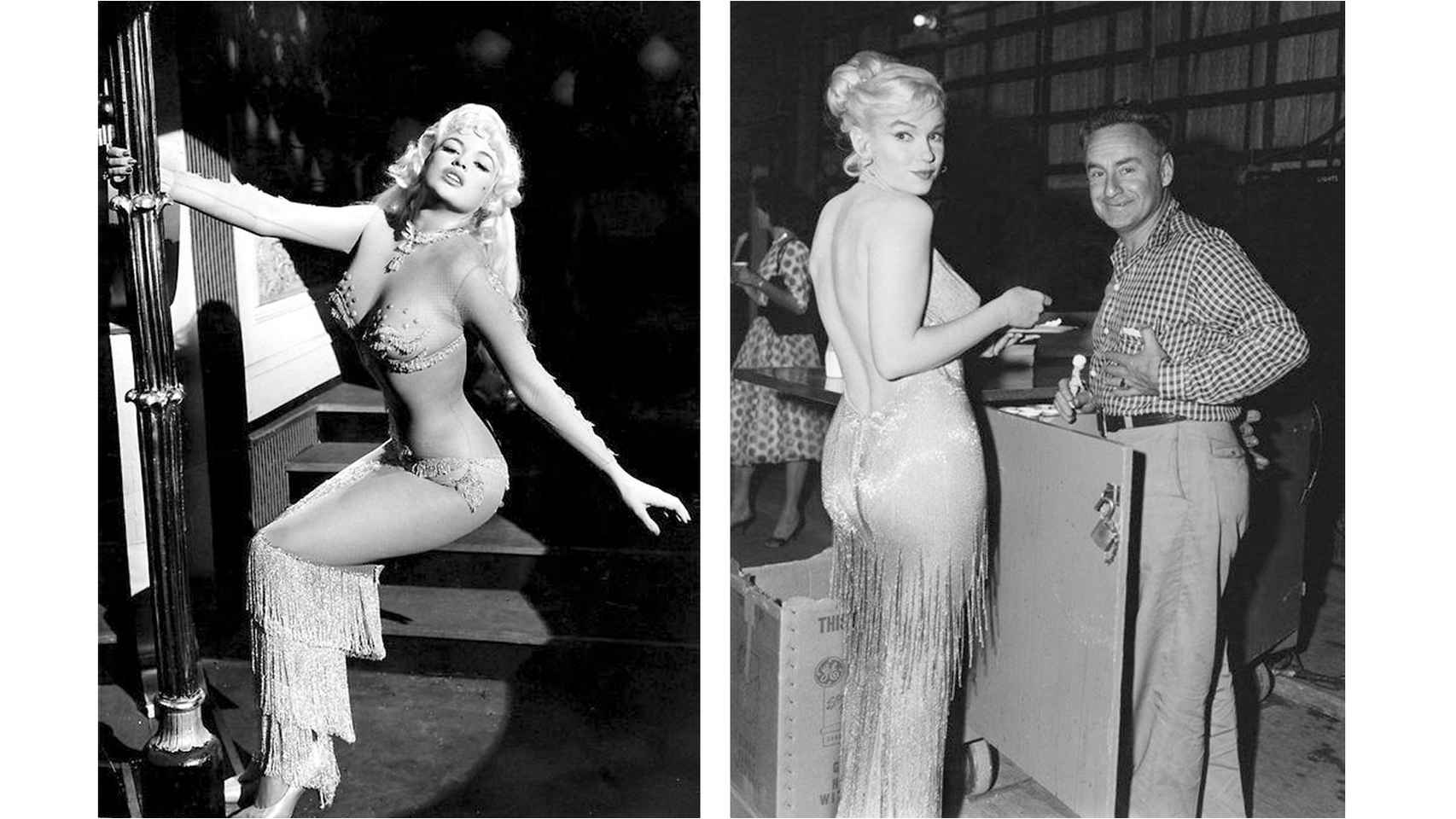 Marilyn y Jayne Mansfield llevando vestidos similares.
