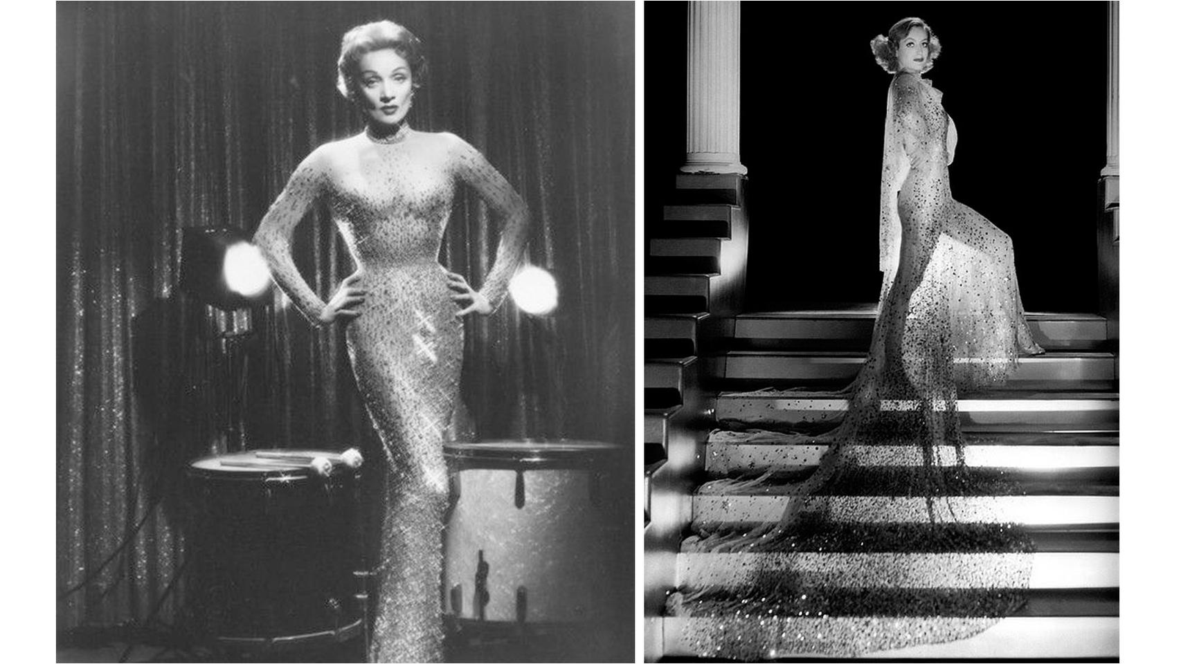 De izquierda a derecha: Joan Crawford y Marlene Dietrich, con dos vestidos en los que se inspiró el de Marilyn que sale a subasta.