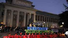 Pancartas de la concentración convocada por la Plataforma 7N contra las violencias machistas.