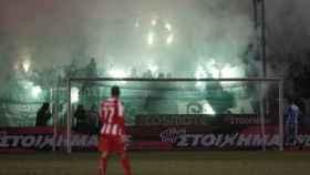 Imagen de un partido de la liga griega.