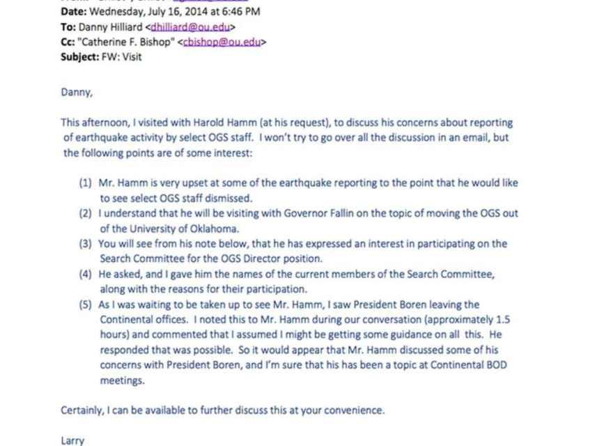 Correo electrónico en el que Hamm solicita el despido de los científicos.