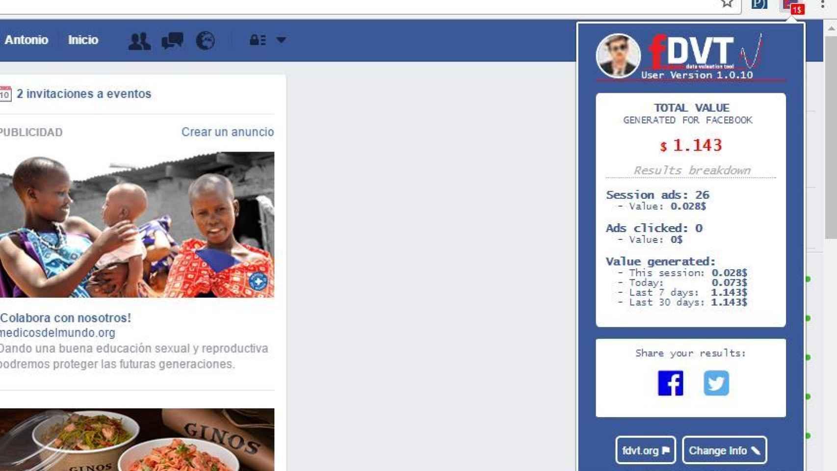 La herramienta informa centavo a centavo lo que Facebook gana con nosotros.