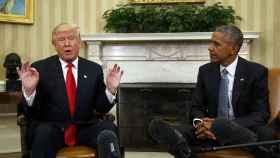 Trump y Obama tras la reunión.