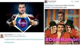 Dos de los montajes difundidos para animar a votar por la candidatura de Espinar.