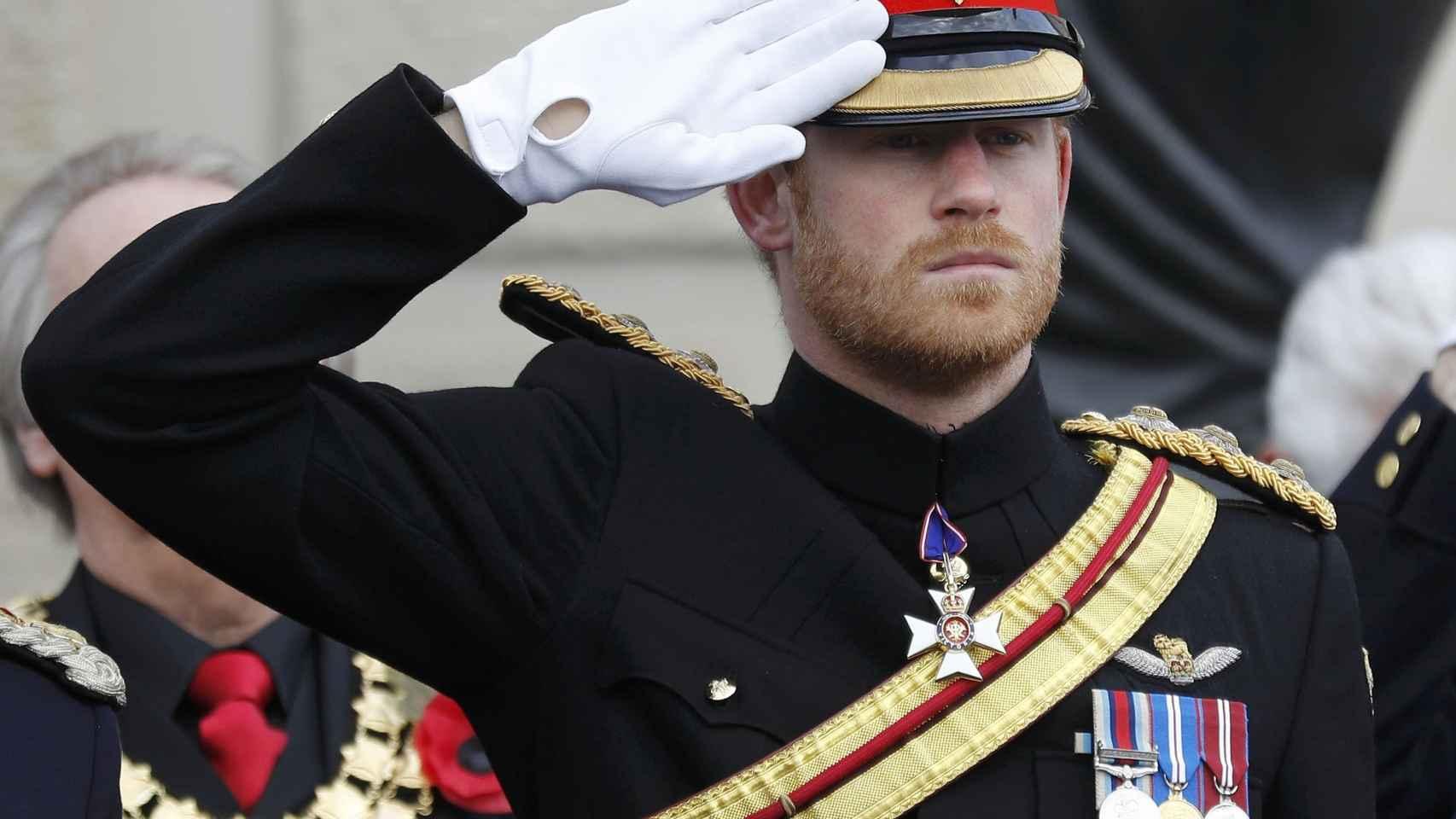 Harry, durante el acto de las Fuerzas Armadas de este viernes.