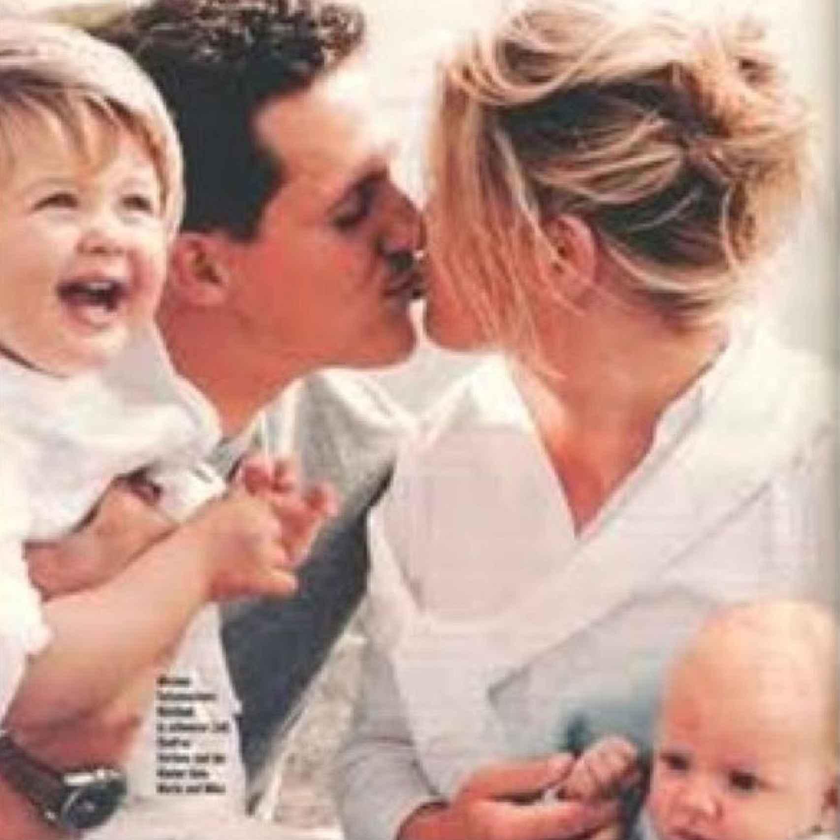 El matrimonio Schumacher con sus hijos de pequeños