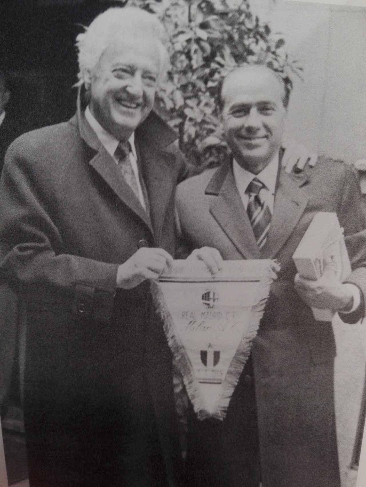 Ramón Mendoza y Silvio Berlusconi, a la sazón presidentes del Real Madrid y el AC Milán