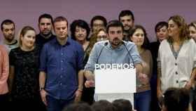 Ramón Espinar, este viernes junto a sus colaboradores.