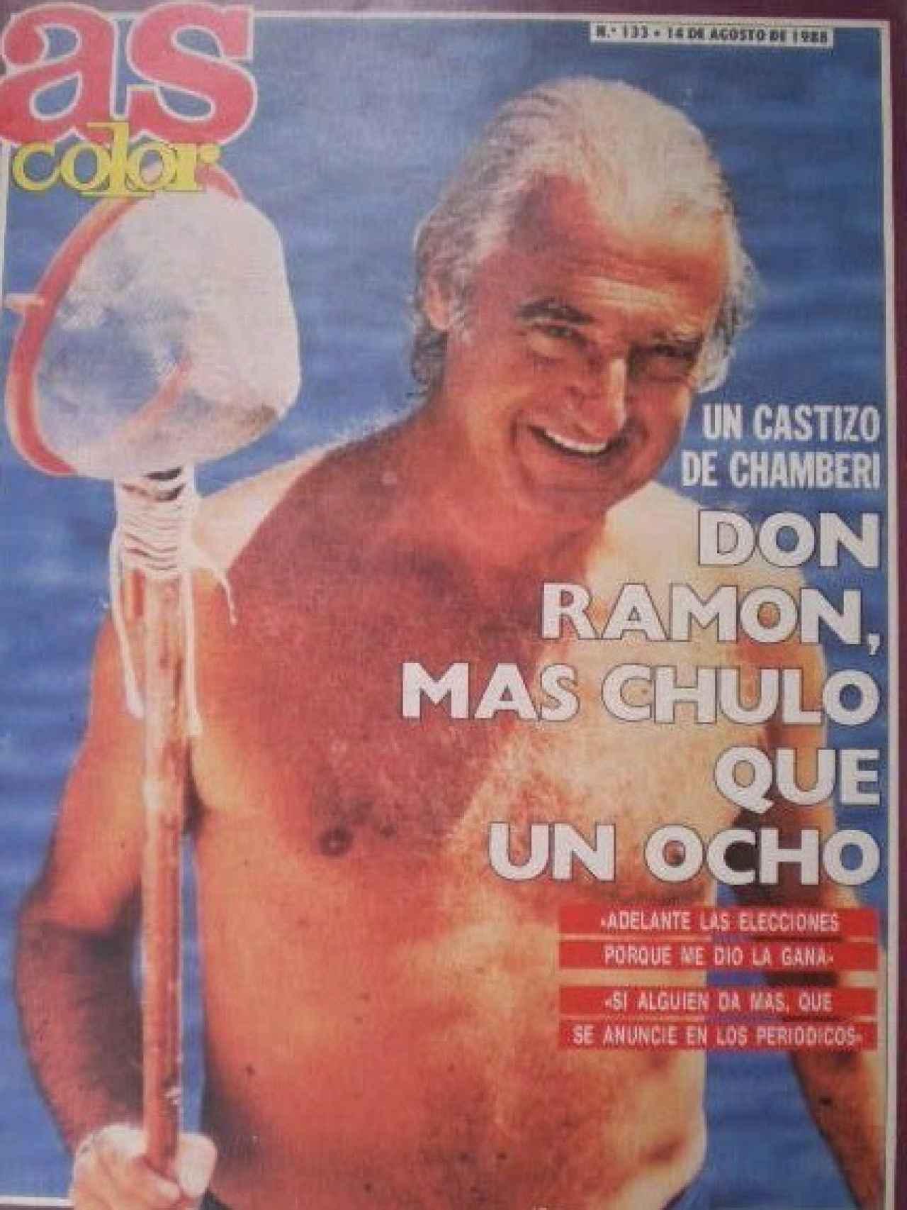 Portada de As Color de 1988, con Mendoza pescando sin camiseta.