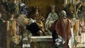 Torquemada presentando a los Reyes Católicos el edicto de expulsión de los judíos.