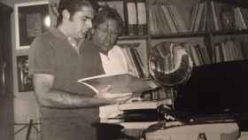 Emiliano Suárez (izqda) dando clases con Suso Mariategui (izqda) en Madrid en 2003