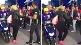 Rossi golpea a una aficionada en el paddock de Cheste