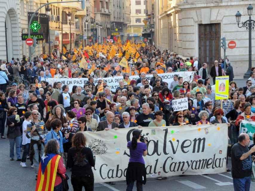 Manifestación de la plataforma Salvem El Cabanyal en 2014.